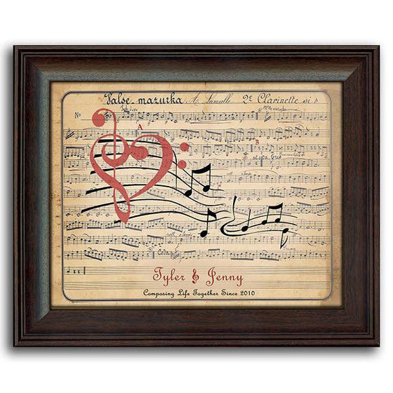 Romantic personalized art of sheet music and your names - Personal-Prints