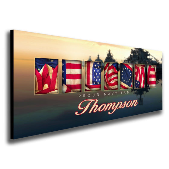 Navy art design using the American flag to spell the word Welcome - Personal-Prints