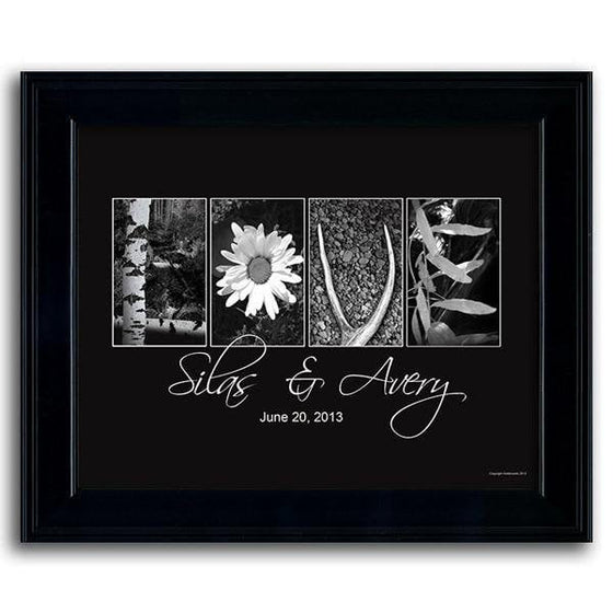 Black and white framed floral art using photographs to spell the word Love - Personal-Prints