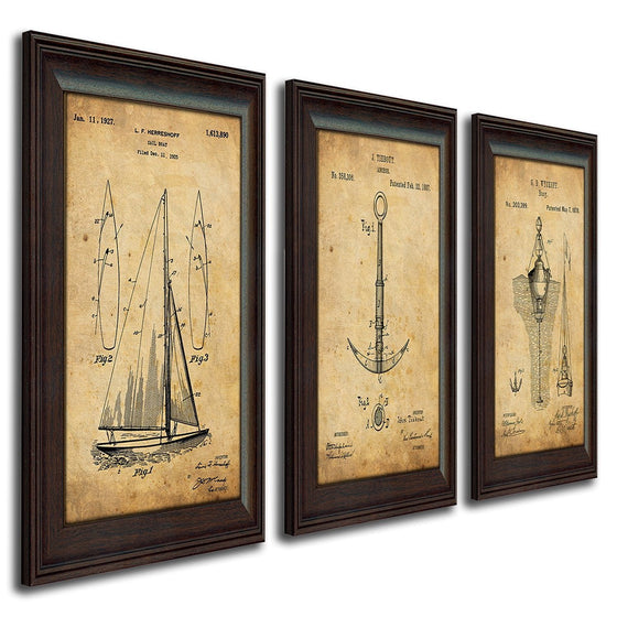 Set of 3 Nautical US Patent Drawing Art Prints - Sailboat, Anchor, Buoy