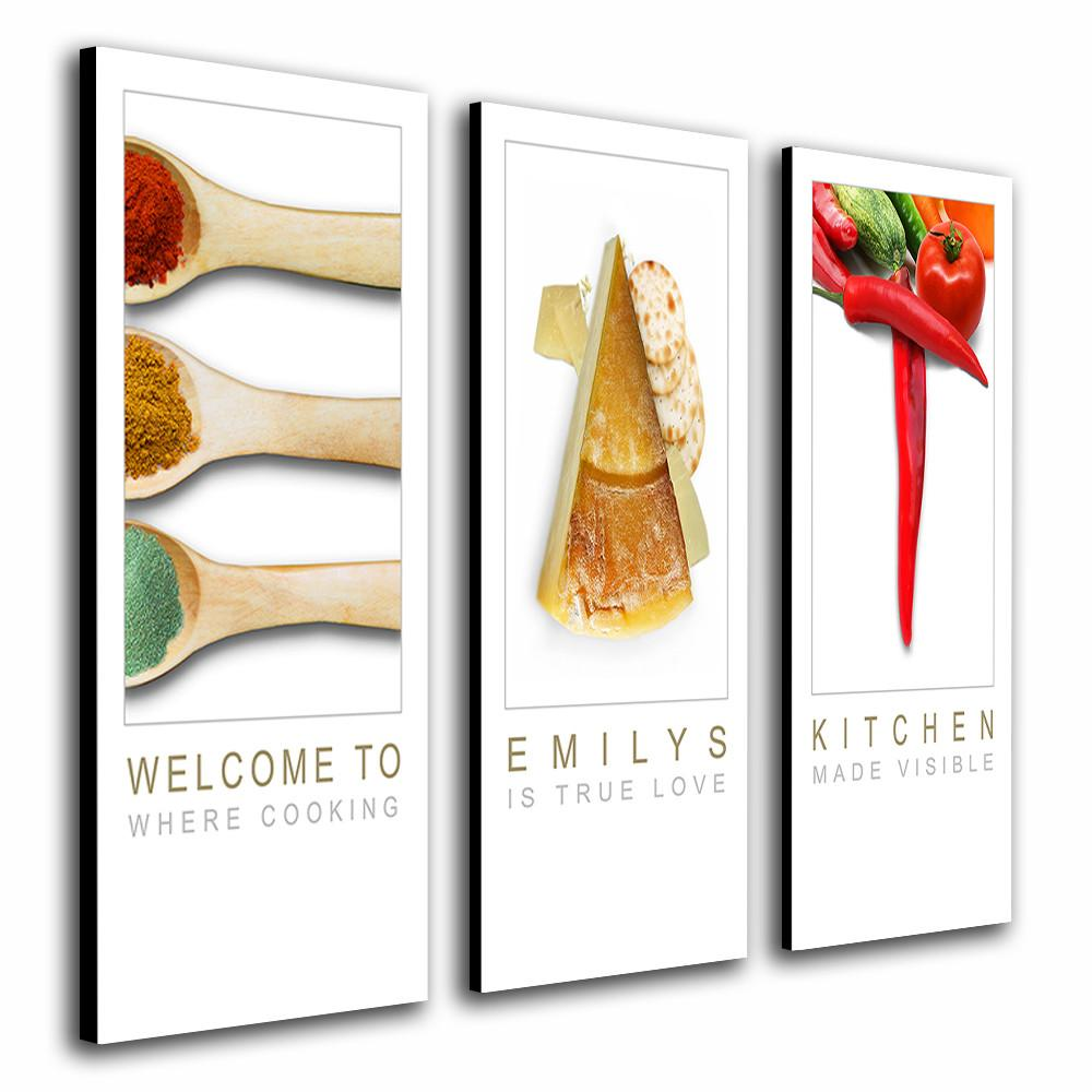 ... Thee Pieces Of Kitchen Wall Canvas Art With Images Of Food To Spell The  Word EAT ...