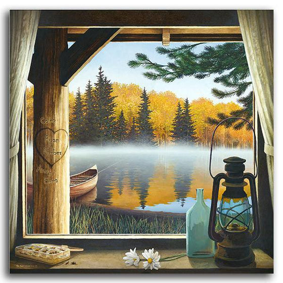 Personalized cabin lake art of a window looking at a lake with a canoe - Personal-Prints
