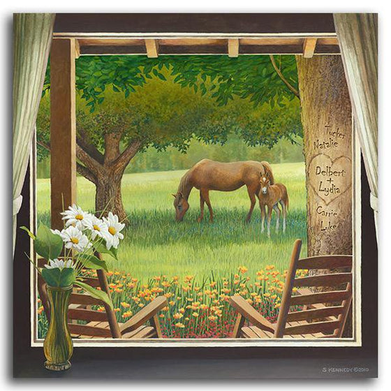 Personalized country cabin decor of a window looking out at a field with a horse - Personal-Prints