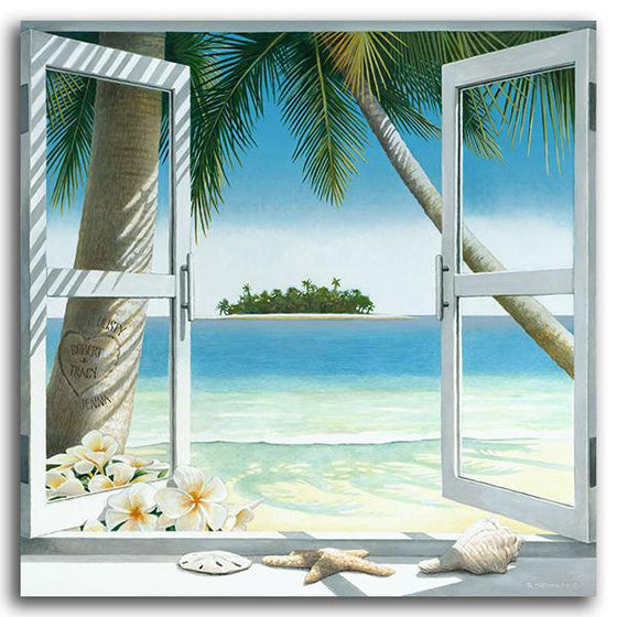 Personalized framed beach picture of a window looking out at the beach - Personal-Prints