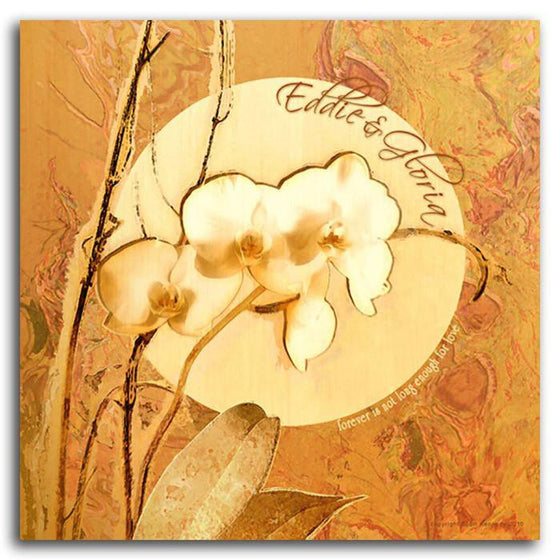 Personalized framed flower print of orchids in orange - Personal-Prints