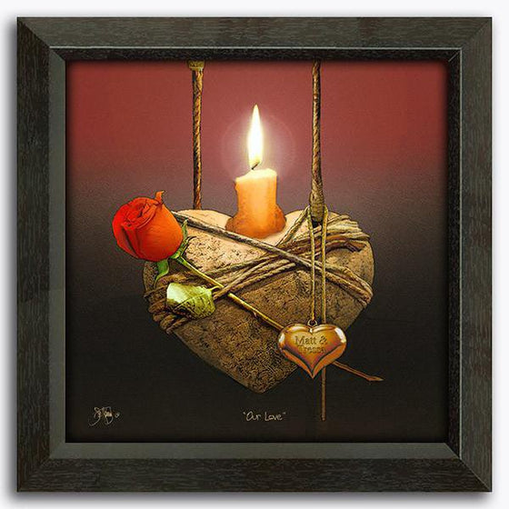 Personalized canvas wrap print of a heart with candle - Personal-Prints