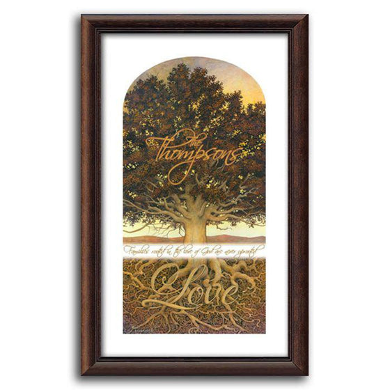 Personalized family tree art with roots that spell LOVE - Personal-Prints