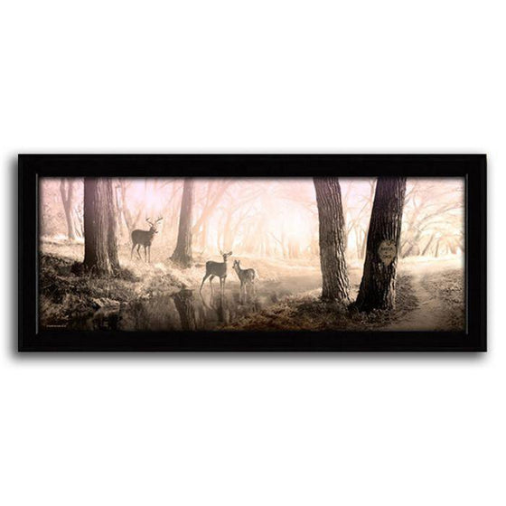 Animal art print with deer in the forest during sunrise - Personal-Prints