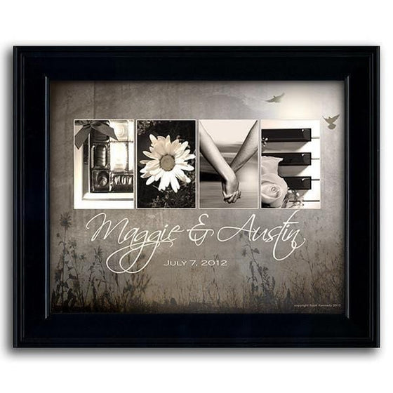 Framed art painting that uses photographs to spell the word Love - Personal-Prints
