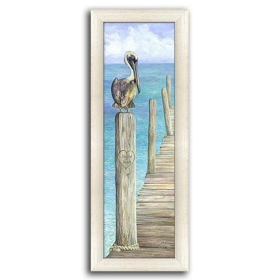 Personalized framed beach picture of a dock and a stork - Personal-Prints