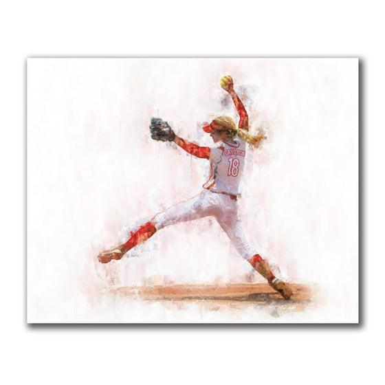 Women's Softball Pitcher Art Decor- Block Mount