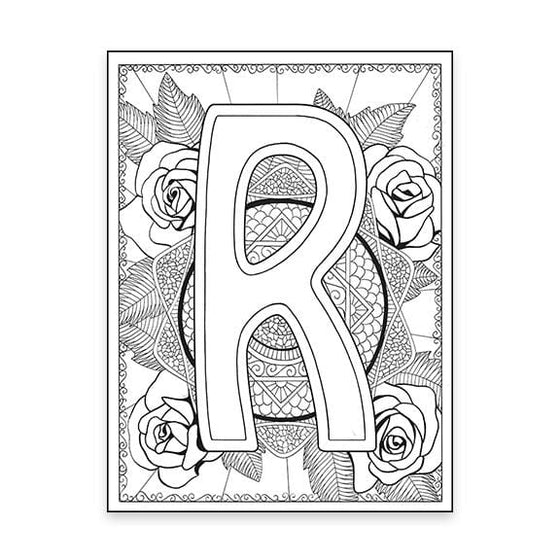 R Monogram Rose Coloring Page