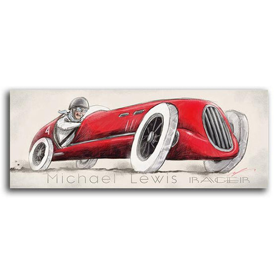 Vintage car print of a red racecar - Personal-Prints