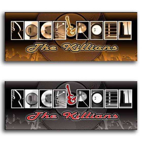 Personalized music art prints with themed images to spell the words Rock and Roll - Personal-Prints