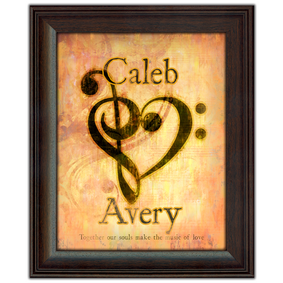 Personalized Art framed under glass - the Bass and Treble cleff form a heart