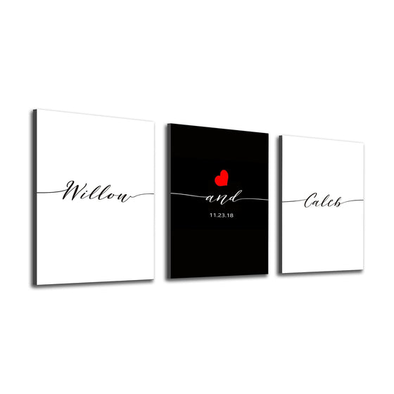 Art Panel set personalized with two names, date and a red heart - Personal-Prints