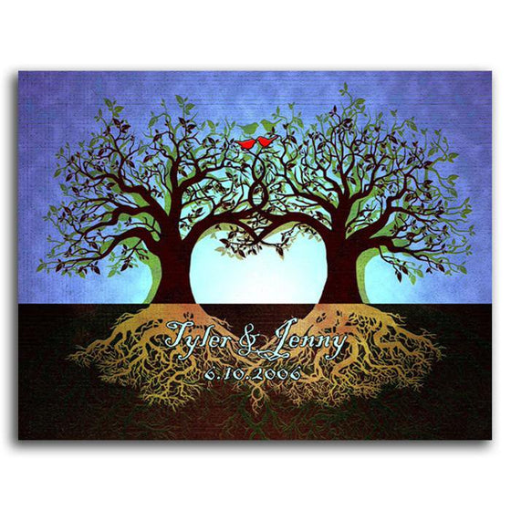 Personalized nature wall decor of two trees and roots - Personal-Prints