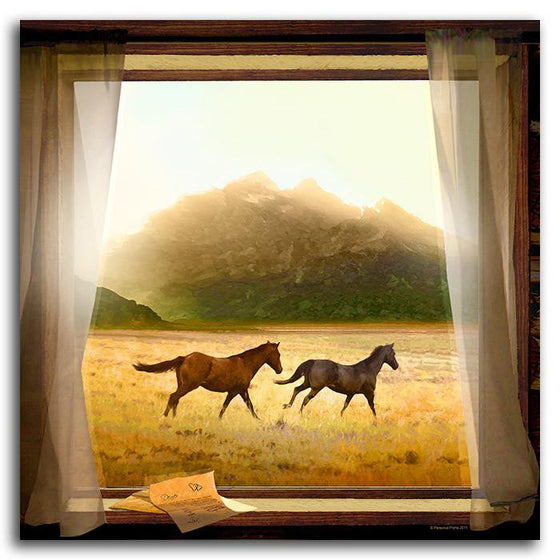 Personalized nature wall decor of two horses running in the sunlight - Personal-Prints
