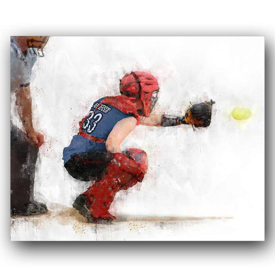 NPF Art Decor Catcher with personalizable jersey color, name, and number- Block Mount