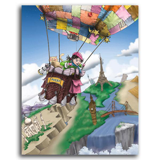Canvas art for little girl's room decor featuring an air balloon ride - Personal-Prints