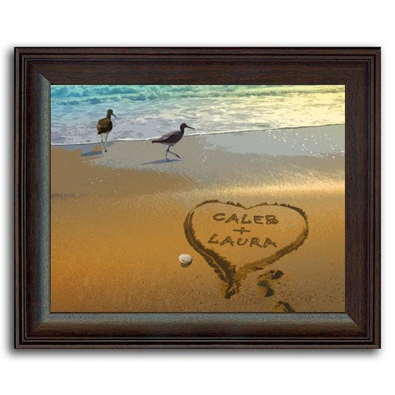 Personalized beach scene on canvas with heart drawn in the sand - Personal-Prints
