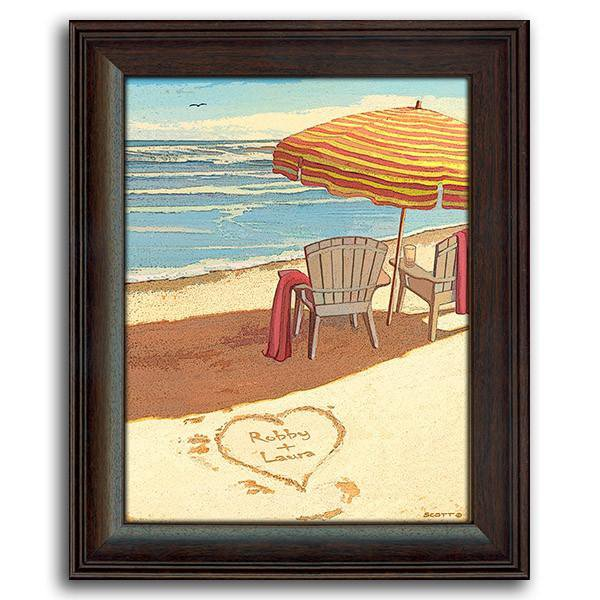 Personalized framed beach picture of chairs, beach umbrella, and heart in the sand - Personal-Prints