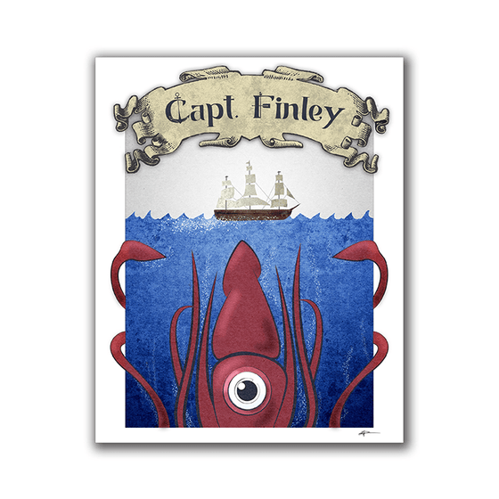 Sea Monster - Kid Child's Room Print