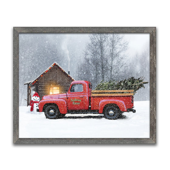 Canvas Art - Red Truck - Christmas Wall Decor