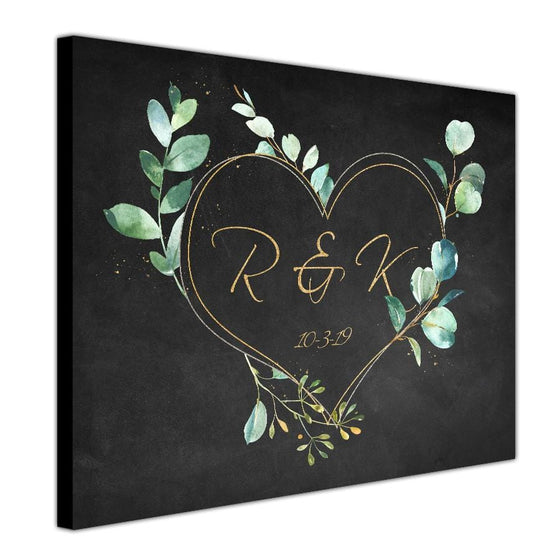 Personalized monogram artwork with a romantic heart personalized for you