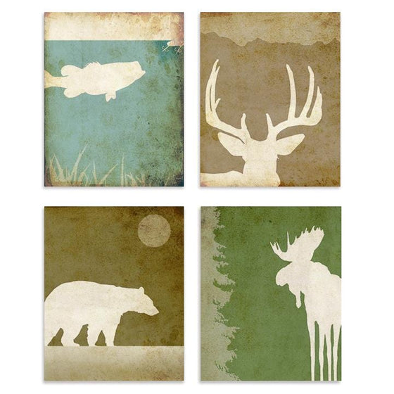 Wildlife Silhouette Print Set