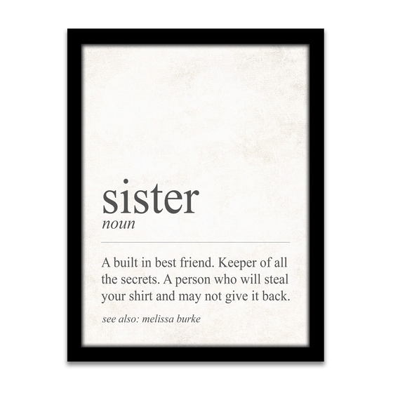 Definition of a Sister - Personalized gift for a sister