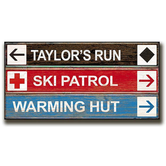 Personalized ski wall art with signs - Personal-Prints