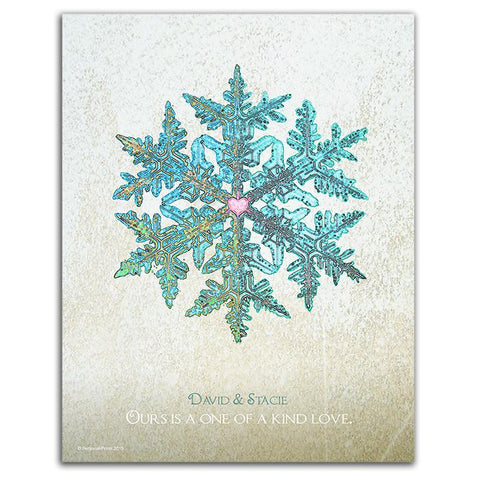 Personalized snowflake print - Wood block mount