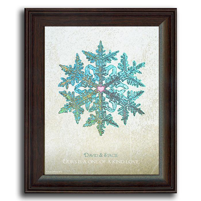 Personalized snowflake print - Framed under glass