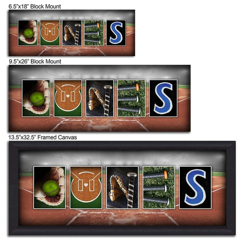 Personalized Softball Name Art - Size Comparison