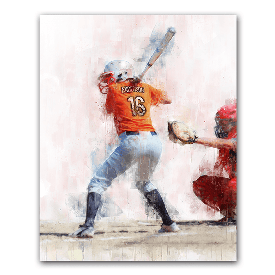 Softball personalized sports artwork - your name on the jersey - from personal prints