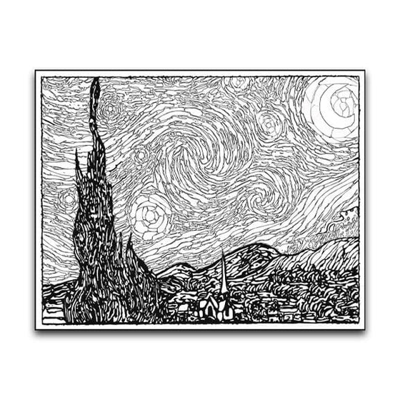 Starry Night Coloring Poster