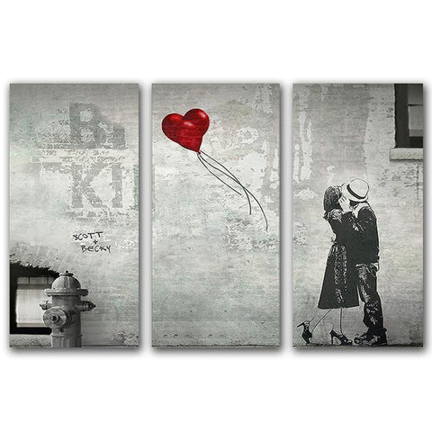 Street Heart oversize personalized art tryptic