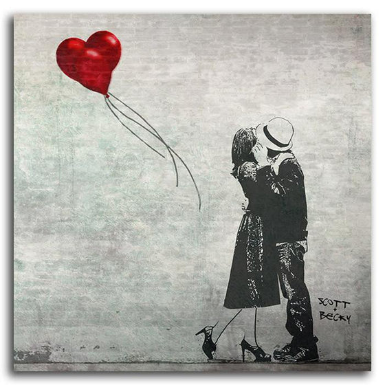 Personalized black and white romantic print with couple embracing and red heart balloon - Personal-Prints