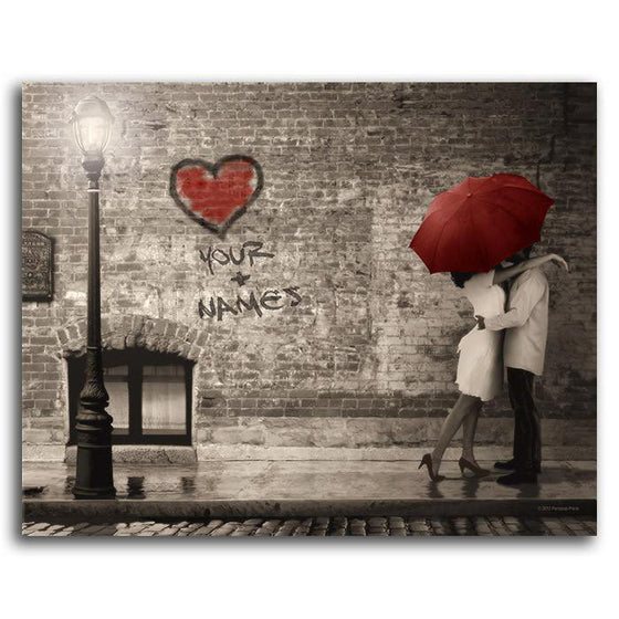 Personalized art street scene with couple embracing and red umbrella and heart - Personal-Prints