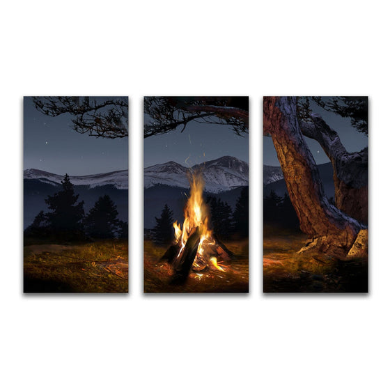 Mountain Campfire Art mounted to wood blocks