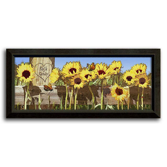 Personalized framed flower print with yellow sunflowers - Personal-Prints