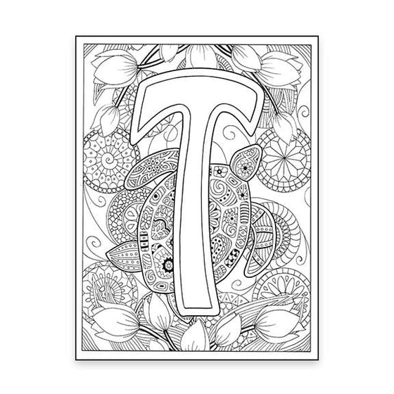T Monogram Turtle coloring page