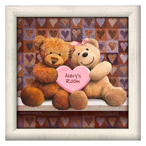 Art for a kid's room with two teddy bears and personalized heart - Personal-Prints