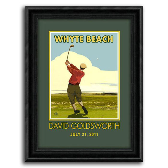Vintage golf print of a golf swing on the green - Personal-Prints