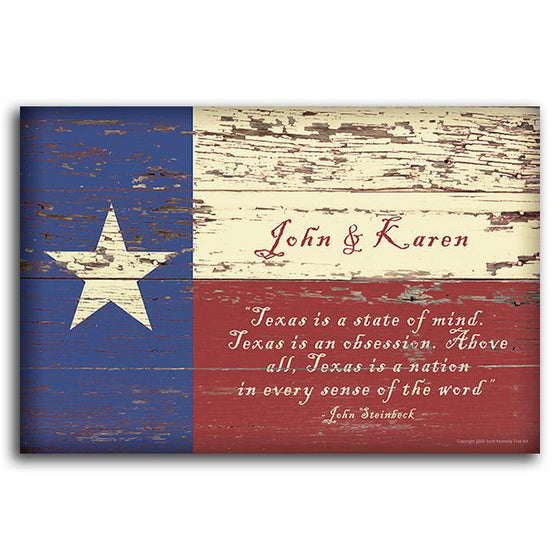 Personalized Texas flag decor with quote - Personal-Prints