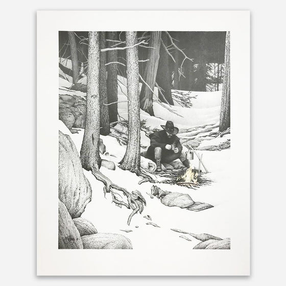 Pencil Drawing of Outdoorsman/ Hunter/ Cowboy sitting by a fire in the snowy mountains