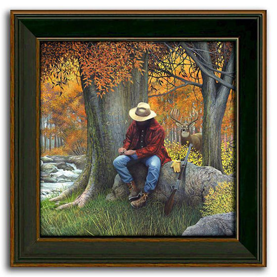 Personalized framed canvas print of a hunter in a forest - Personal-Prints
