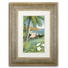 Original watercolor of a beach scene on canvas of a pelican and palm tree - Personal-Prints