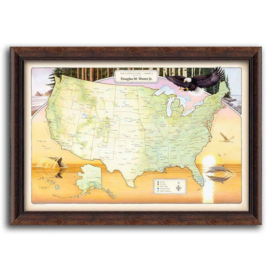 Personalized map of the United States with push pins - Personal-Prints